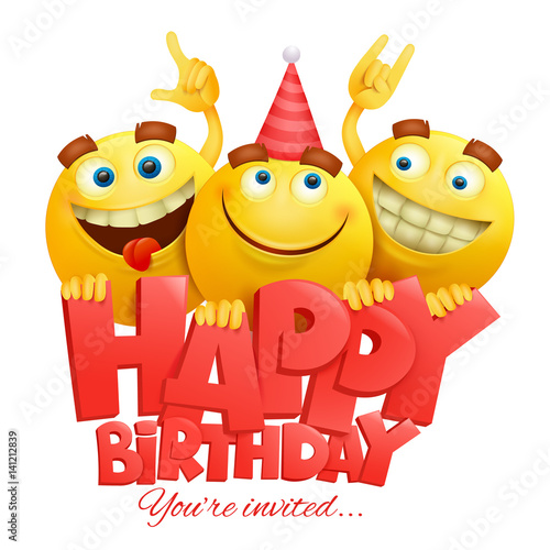 Smiley Yellow Faces Emoji Characters Happy Birthday Card Fichier