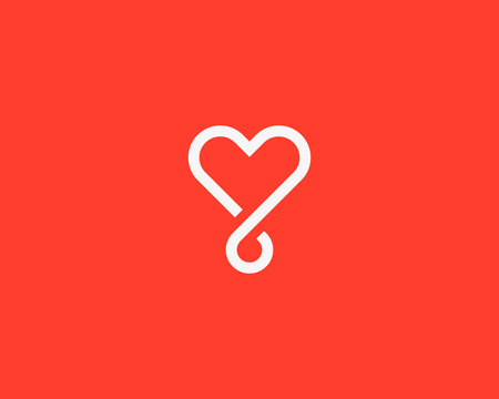 Heart loop vector logotype. Linear medical social logo symbol design.