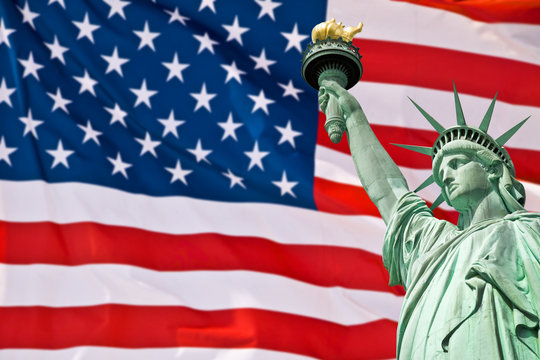 Statue of Liberty, United Stated flag background, New York, USA