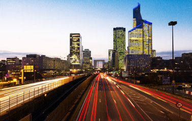 View of  La defense district business in Paris at night, France