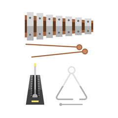 Xylophone and two mallets on hite background musical sound percussion instrument and fun rhythm melody object creative musician equipment vector illustration.