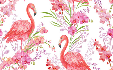 seamless pattern floral background bird pink Flamingo and Orchid