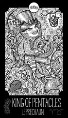 King of Pentacles. Leprechaun. Minor Arcana Tarot card. Fantasy engraved illustration. See all collection in my portfolio set