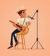 Singer man character sing song and play guitar. Vector flat cartoon illustration