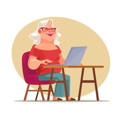 Elderly woman character chatting on network. Vector flat cartoon illustration