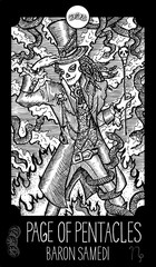 Page of Pentacles. Baron Samedi. Minor Arcana Tarot card. Fantasy engraved illustration. See all collection in my portfolio set