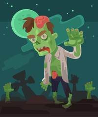 Angry hungry zombie men character walking out from grave. Vector flat cartoon illustration