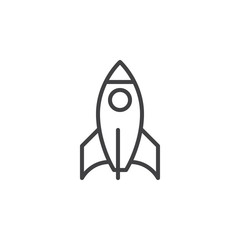 Rocket line icon, outline vector sign, linear style pictogram isolated on white. Startup symbol, logo illustration. Editable stroke. Pixel perfect