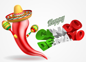 Happy Cinco De Mayo Chilli Pepper Design