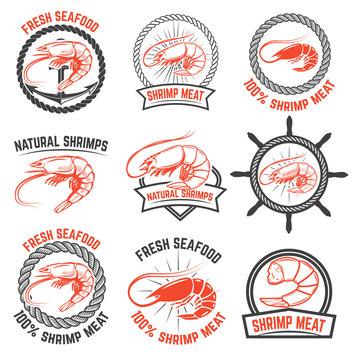Set of the shrimps meat labels isolated on white background. Design element for logo, label, badge, sign. Vector illustration.