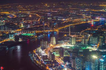Shanghai neon night highway futuristic illuminated skyscrapers China