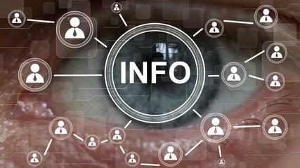 Wall Mural - Business button info network Information security interface eye imprint