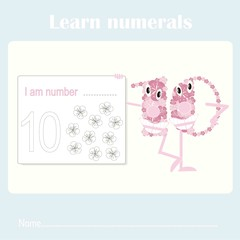 Counting educational, kids activity sheet. Learning numbers 10 stock vector illustration