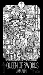 Queen of Swords. Amazon. Minor Arcana Tarot card. Fantasy engraved illustration. See all collection in my portfolio set