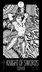 Knight of Swords. Conan. Minor Arcana Tarot card. Fantasy engraved illustration. See all collection in my portfolio set