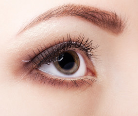 Close-up shot of young woman eye with day  make up