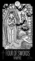Four of Swords. Vampire. Minor Arcana Tarot card. Fantasy engraved illustration. See all collection in my portfolio set