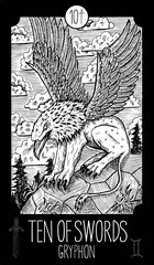 Ten of Swords. Gryphon. Minor Arcana Tarot card. Fantasy engraved illustration. See all collection in my portfolio set