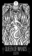 Queen of Wands. Lilith. Minor Arcana Tarot card. Fantasy engraved illustration. See all collection in my portfolio set