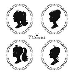 Princesses profile set. Beautiful female silhouettes.