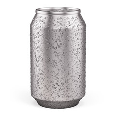 Blank Aluminium Can for beer, soft drinks, alcohol, soda, cola, juice, water isolated on white. 3d rendering template