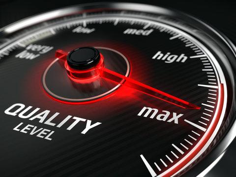 Maximum Quality concept - quality level meter - 3d rendering