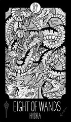 Eight of Wands. Hydra. Minor Arcana Tarot card. Fantasy engraved illustration. See all collection in my portfolio set