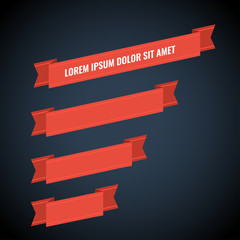 Red web ribbon banners set on dark background for design. Vector illustration