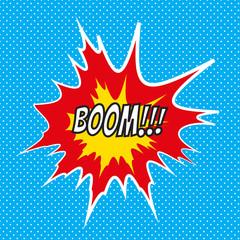Pop art comics Boom speech bubble.