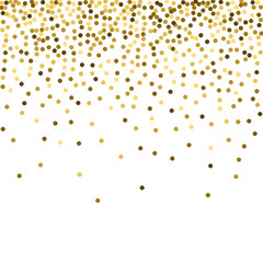 Abstract festive background with golden confetti. A square template with glitter to create posters, flyers for celebrations and sales.