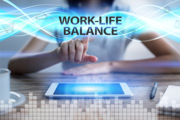 Woman using tablet pc, pressing on virtual screen and selecting work-life balance.