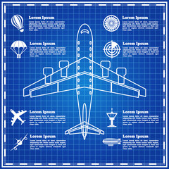 Set of icons on a theme aviation. The template for the presentation. Vector illustration.