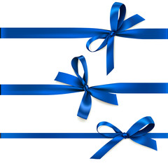 Set of beautiful decorative bows with horizontal ribbon for gift decoration. Vector blue bow isolated on white