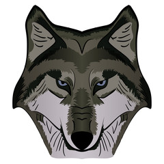 Cartoon Vector Mascot Image Grey Wolf Head