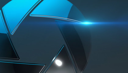 Camera iris sign. Photography lens symbol, 3d rendering