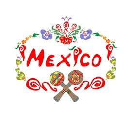 Abstract floral frame with mexico lettering and maracas