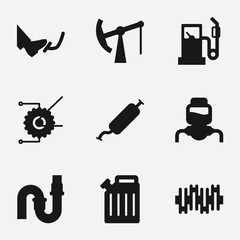 Set of 9 gas filled icons