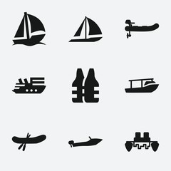 Set of 9 boat filled icons