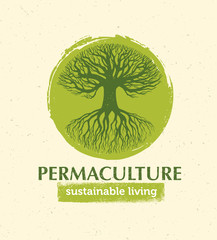 Permaculture Sustainable Living Creative Vector Design Element Concept. Old Tree With Roots Inside Rough Circle