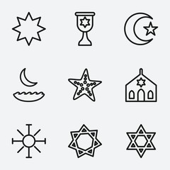 Set of 9 star outline icons