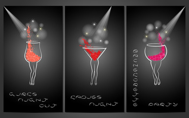 Set of design template for party invitations with cocktails.
