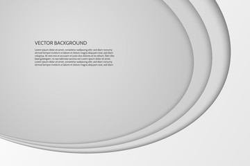 Vector modern simple oval gray and white background with paper effect. 3D ovals with soft shadows. Sample text.