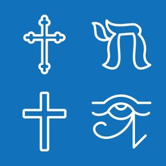 Set of 4 religious outline icons