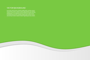 Vector modern simple wavy green background with paper effect. Background with gray and white waves. Sample text.