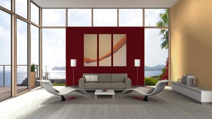 interior eines modernen Wohnzimmers mit großflächigen Fenstern und Terrasse