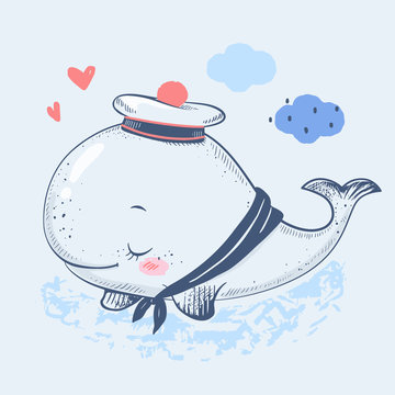 Cute baby whale in a sailor suit cartoon hand drawn vector illustration. Can be used for baby t-shirt print, fashion print design, kids wear, baby shower celebration greeting and invitation card.