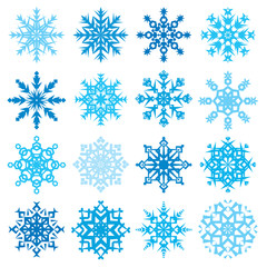 Various snowflake shapes decorative winter set vector illustration