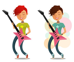young cartoon girl enjoying playing guitar