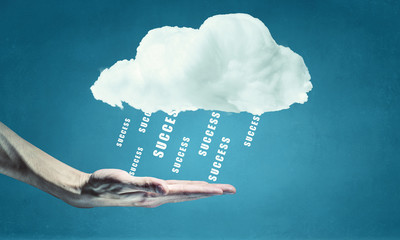 Cloud computing concept . Mixed media