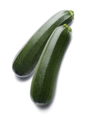 Zucchini vertical isolated on white background